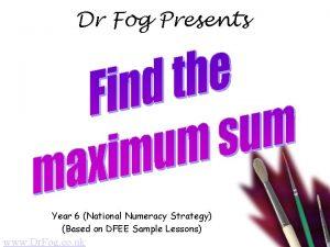 Dr Fog Presents Year 6 National Numeracy Strategy