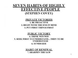 SEVEN HABITS OF HIGHLY EFFECTIVE PEOPLE STEPHEN COVEY