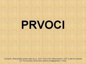 PRVOCI Dostupn z Metodickho portlu www rvp cz