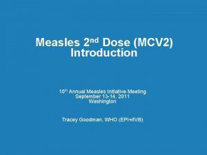 Measles 2 nd Dose MCV 2 Introduction 10