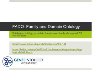 FADO Family and Domain Ontology Building an ontology