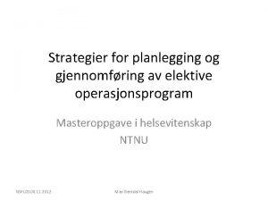 Strategier for planlegging og gjennomfring av elektive operasjonsprogram