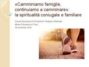 Camminiamo famiglie continuiamo a camminare la spiritualit coniugale