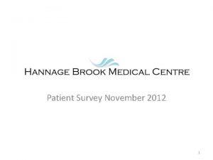 Patient Survey November 2012 1 Survey distributed during