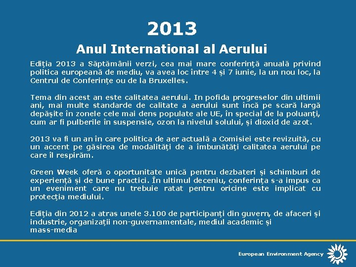 2013 Anul International al Aerului Ediia 2013 a