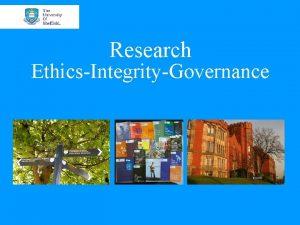Research EthicsIntegrityGovernance University of Sheffield Timeline University Initiative