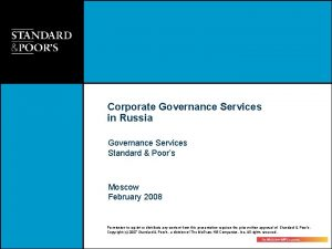 Corporate Governance Services in Russia Governance Services Standard