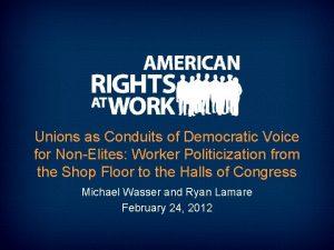 Unions as Conduits of Democratic Voice for NonElites