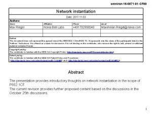 omniran16 0071 01 CF 00 Network instantiation Date