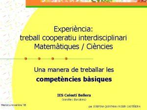Experincia treball cooperatiu interdisciplinari Matemtiques Cincies Una manera