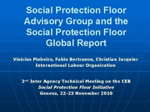 Social Protection Floor Advisory Group and the Social