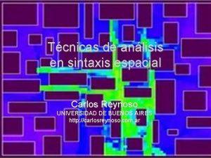 Tcnicas de anlisis en sintaxis espacial Carlos Reynoso