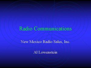 Radio Communications New Mexico Radio Sales Inc Al