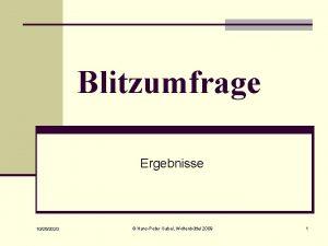 Blitzumfrage Ergebnisse 10262020 HansPeter Gabel Wolfenbttel 2009 1
