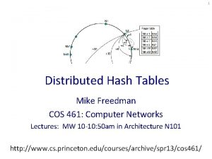 1 Distributed Hash Tables Mike Freedman COS 461