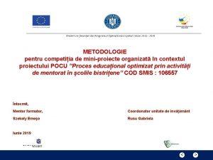METODOLOGIE pentru competiia de miniproiecte organizat n contextul