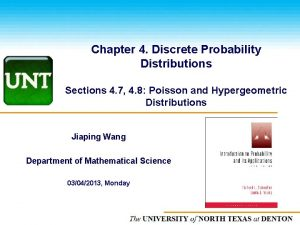Chapter 4 Discrete Probability Distributions Sections 4 7