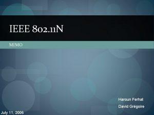 IEEE 802 11 N MIMO Haroun Ferhat David