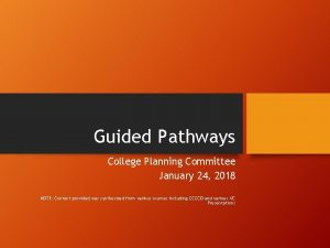 Guided Pathways College Planning Committee January 24 2018