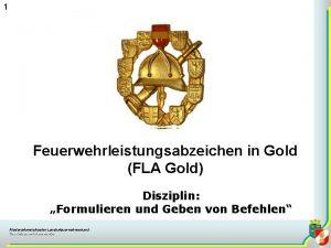 1 Feuerwehrleistungsabzeichen in Gold FLA Gold Disziplin Formulieren