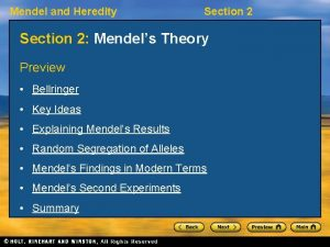 Mendel and Heredity Section 2 Mendels Theory Preview