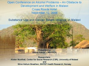 Open Conference on Alcohol Problems An Obstacle to