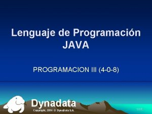 Lenguaje de Programacin JAVA PROGRAMACION III 4 0