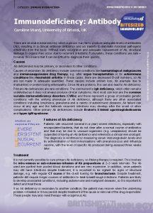 CATEGORY IMMUNE DYSFUNCTION IMMUNODEFICIENCY ANTIBODY Immunodeficiency Antibody Caroline