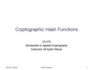 Cryptographic Hash Functions CS 470 Introduction to Applied