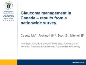 Glaucoma management in Canada results from a nationwide