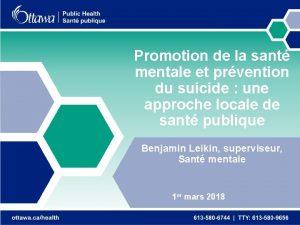 Promotion de la sant mentale et prvention du