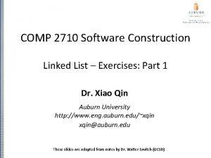 COMP 2710 Software Construction Linked List Exercises Part