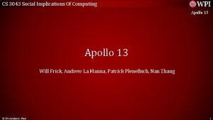 CS 3043 Social Implications Of Computing Apollo 13