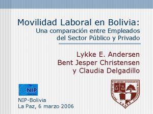 Movilidad Laboral en Bolivia Una comparacin entre Empleados