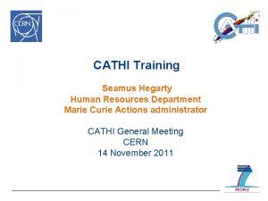 CATHI Training Seamus Hegarty Human Resources Department Marie