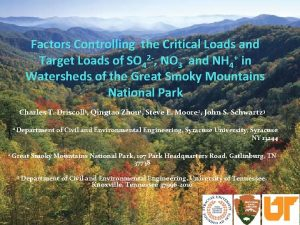 Factors Controlling the Critical Loads and Target Loads