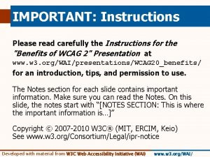 IMPORTANT Instructions Please read carefully the Instructions for