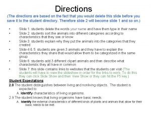 Directions The directions are based on the fact