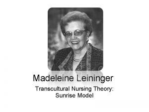 Madeleine Leininger Transcultural Nursing Theory Sunrise Model What
