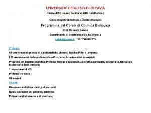 UNIVERSITA DEGLI STUDI DI PAVIA Classe delle Lauree
