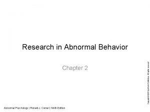 Chapter 2 Abnormal Psychology Ronald J Comer Ninth