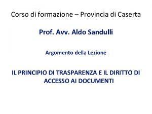 Corso di formazione Provincia di Caserta Prof Avv