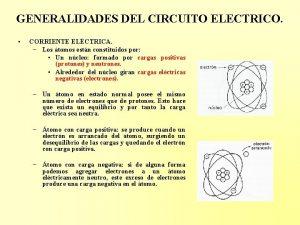 GENERALIDADES DEL CIRCUITO ELECTRICO CORRIENTE ELCTRICA Los tomos