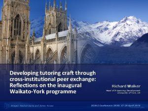 Developing tutoring craft through crossinstitutional peer exchange Reflections