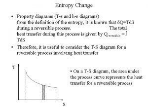 Entropy Change Property diagrams Ts and hs diagrams