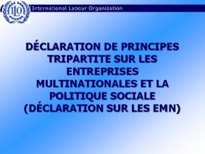 DCLARATION DE PRINCIPES TRIPARTITE SUR LES ENTREPRISES MULTINATIONALES