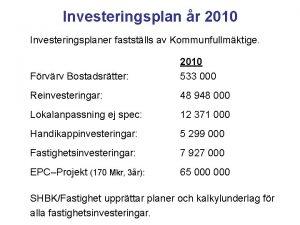 Investeringsplan r 2010 Investeringsplaner faststlls av Kommunfullmktige Frvrv