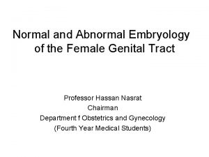 Normal and Abnormal Embryology of the Female Genital
