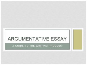 ARGUMENTATIVE ESSAY A GUIDE TO THE WRITING PROCESS