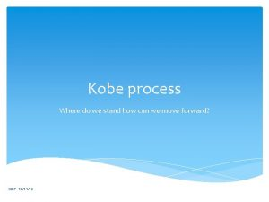 Kobe process Where do we stand how can